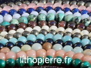 fils de perles en rang